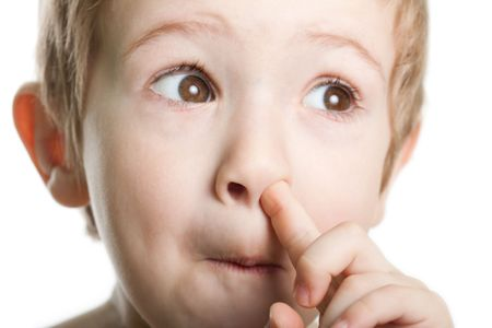 Picking nose fun looking eye cute human child face Stock Photo - 6825711