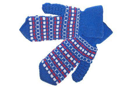 Cold winter season wool clothing human hand mitten photo