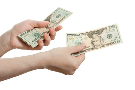 Finance wealth human hand holding dollar currency photo