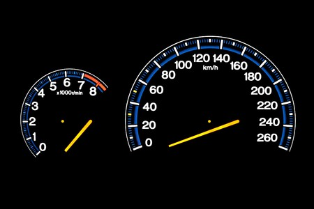 Driving speed speedometer gauge on car dashboard Stock Photo - 7059336
