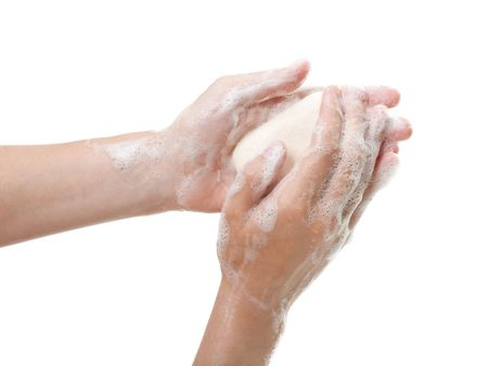 soap suds: Hygiene soap bar washing or cleaning human hand
