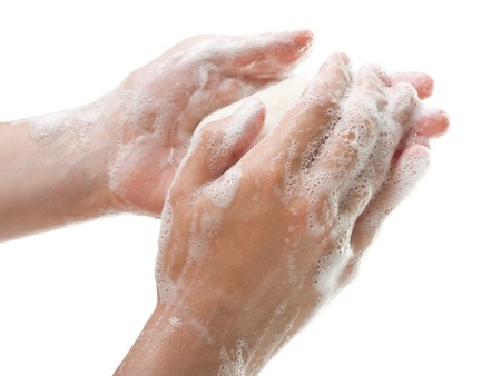 Hygiene soap bar washing or cleaning human hand photo