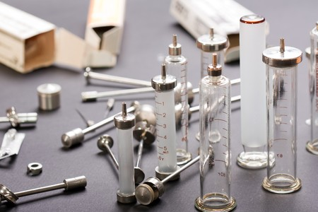 reusable: Medicine vaccination injecting reusable syringe Stock Photo
