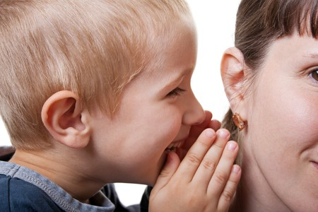 Little human child boy mother ear secrecy whisper photo