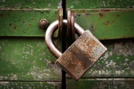 Closed metal lock door security protection padlock photo