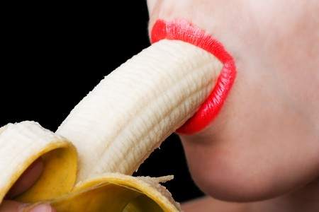 Sex symbol women sucking eating banana fruit food Stock Photo - 7582414