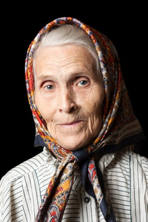 Aging process - very old senior women smiling face Stock Photo - 7817384