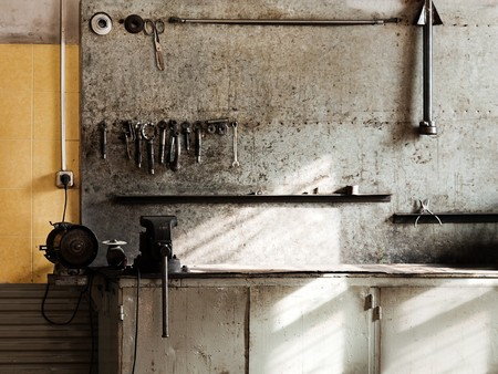 places of work: Hand work repair equipment tool workshop workbench Stock Photo
