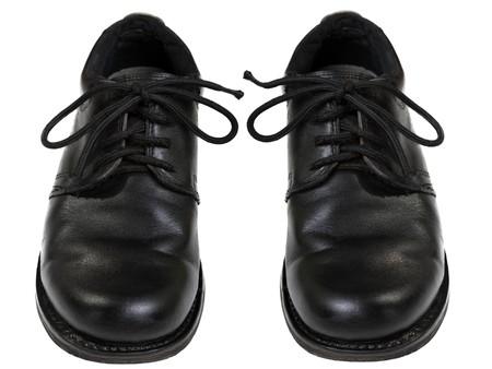 Black leather men fashion shoe pair white isolated photo