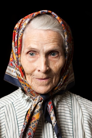 Aging process - very old senior women smiling face photo