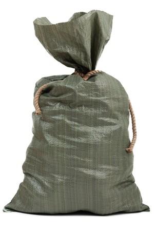 Rope knot tied full burlap gift garbage sack bag photo