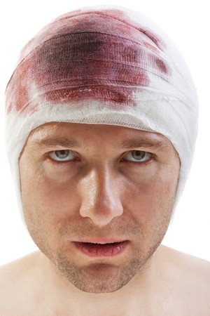 Bandage on human brain concussion blood wound head photo