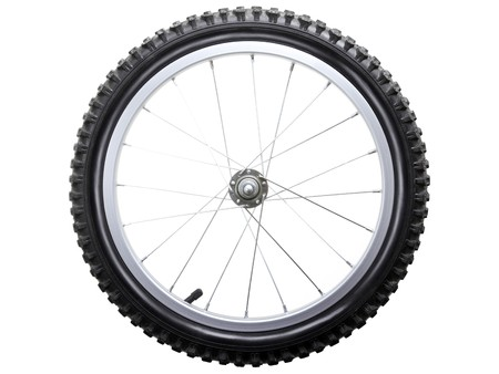Sport bicycle tire and spoke wheel while isolated photo