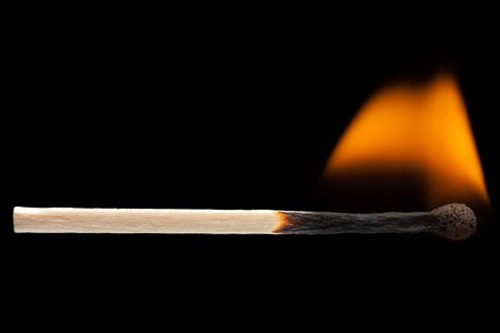 Fire flame heat burning wood match black isolated Stock Photo - 8180232