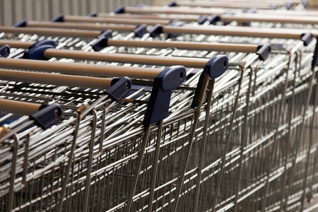 Retail business store shopping cart row background Stock Photo - 8180246