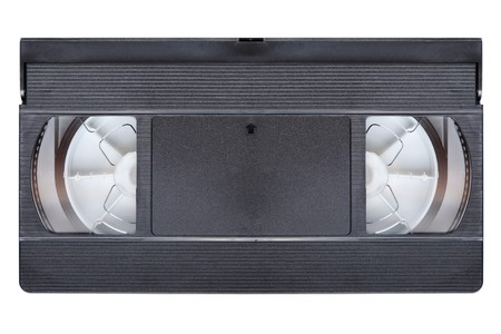 vcr: Black VCR video audio cassette tape white isolated Stock Photo