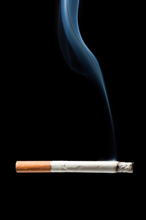 cigarette: Addiction issue - smoking cigarette black isolated
