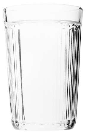 Liquid drink water faceted glass isolated on white photo