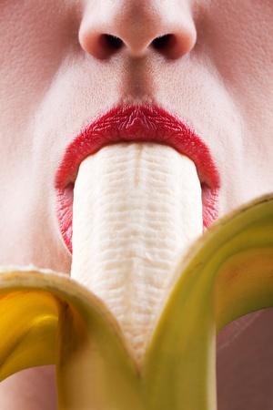 Sex symbol women sucking eating banana fruit food Stock Photo - 8344211