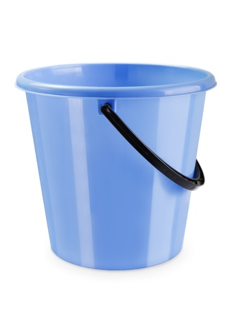 water bucket: Empty housework equipment plastic bucket container Stock Photo