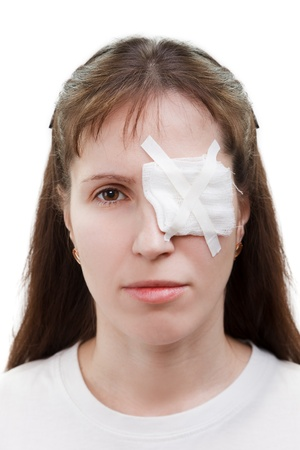 covering eyes: Medicine plaster patch on human injury wound eye Stock Photo