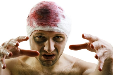 contusion: Bandage on human brain concussion blood wound head Stock Photo