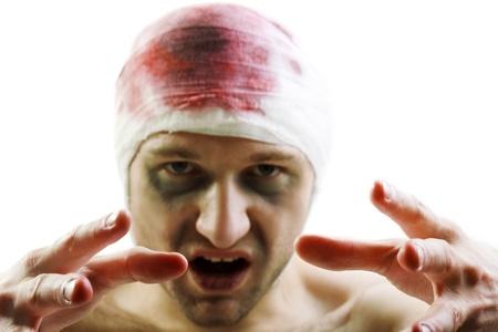 Op menselijke hersenen hersenschudding bloed wond hoofd bandage