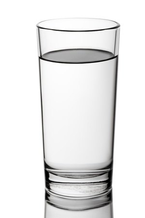 Water glass: Liquid drink water faceted glass isolated on white Stock Photo
