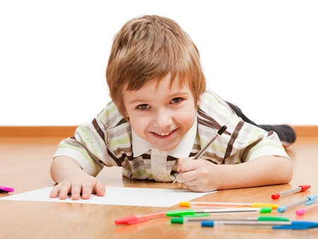 kids writing: Little child drawing painting or writing letter Stock Photo