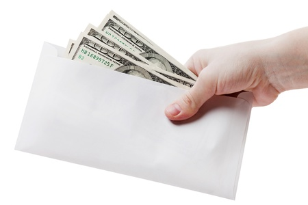 Human hand holding dollar currency letter envelope photo