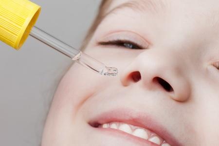 sinusitis: Medicine healthcare nasal dropper applying child