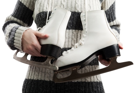 Women holding winter activity rink ice sport skate Stock Photo - 9015430