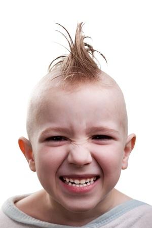 punk hair: Little cheerful punk hair child boy fun smile grin