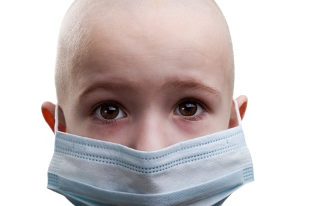 eye patient: Flu illness child boy in medicine healthcare mask Stock Photo