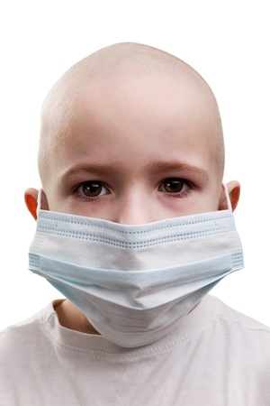 radiation pollution: Flu illness child boy in medicine healthcare mask Stock Photo