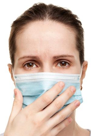 contagion: Cold flu illness women in medicine healthcare mask Stock Photo