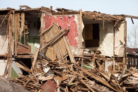 Danni di emergenza terremoto uragano rovinato casa Archivio Fotografico