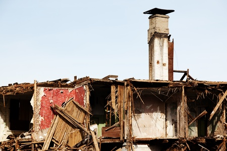 Hurricane earthquake disaster damage ruined house Stock Photo - 9324477
