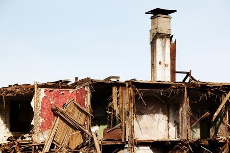 Hurricane earthquake disaster damage ruined house photo