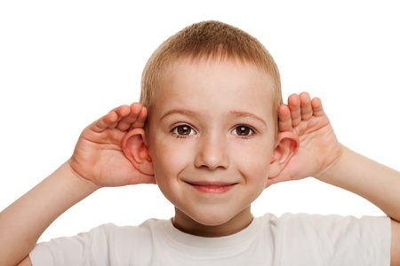 Smiling human child hand listening deaf ear gossip Stock Photo
