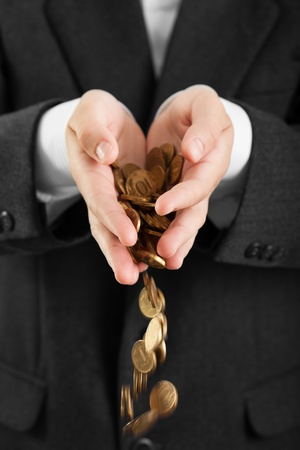 Business men hands holding finance currency coins photo