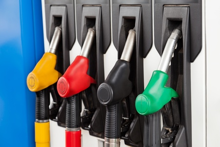 refueling: Gasoline or petrol station gas fuel pump nozzle