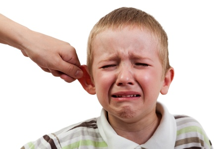 Violence and abuse - cry child pull ear punishment Stock Photo - 9944655