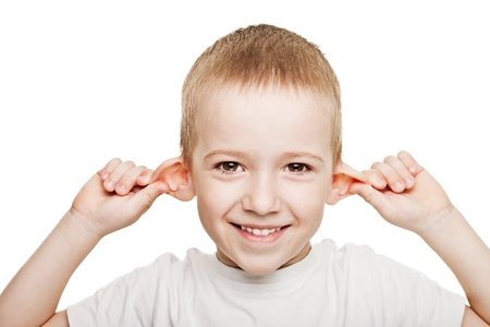 human ear: Smiling human child hand listening deaf ear gossip Stock Photo
