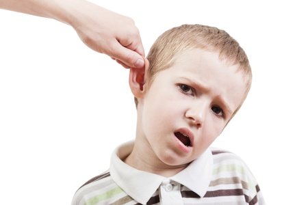 Violence and abuse - cry child pull ear punishment photo