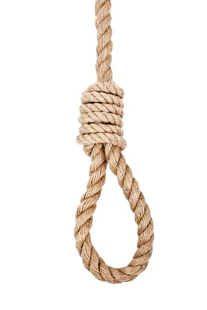Gallows hanging rope knot tied noose white isolated photo