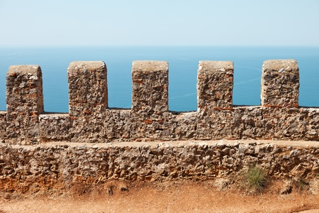 Mediterranean sea and blue sky view from Turkey Alanya ancient mountain castle wall Stock Photo - 10906558