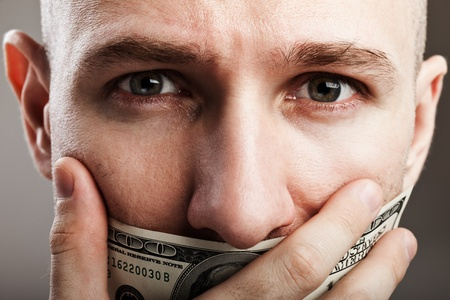 Human silence - dollar currency gag shut voiceless man mouth