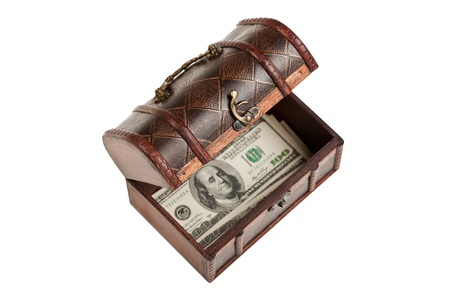 Old antique brown wood treasure chest or box with dollar currency white isolated photo