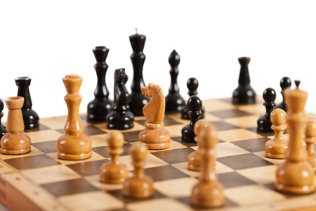 Strategy and competition chess game figures on wood board Stock Photo - 13119594